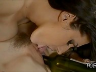 Sharp-minded dark-haired chick decides to use vine bottle as a tool for pleasing girlfriend's dripping cunt 11