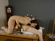 Sharp-minded dark-haired chick decides to use vine bottle as a tool for pleasing girlfriend's dripping cunt 9