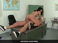 Ravishing doll with glasses allowed her teacher to fulfill his lewd wishes on the desk  9