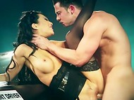 Brunette car inspector Asa Akira gets her dark holes fucked by handsome driver   5