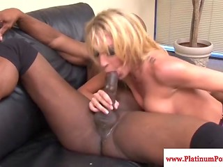 Good-looking dame in stockings gets her tight openings drilled by an Ebony dude