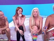 Tanned blonde Britney Amber invited her red-haired girlfriend to taste delicious dong  11