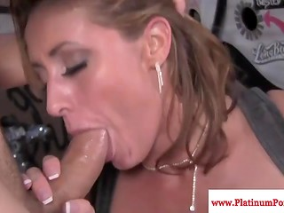 Eva Notty's delicious vagina was fully filled with white jizz provided by her fucker