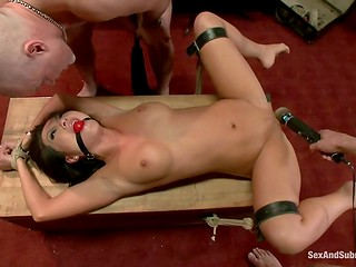 Asian pornstar experienced crazy BDSM action getting humiliated by two wild male beasts
