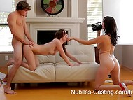 Cute angel came to the Nubiles casting to demonstrate her petite body and divine fucking skills