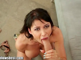 Brunette Eva Karera uses her plump lips and deep throat to please her partner
