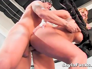 Big juicy boobs couldn't help Shyla Stylez to resist against the powerful fighter in the ring