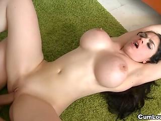 Astonishing Marta La Croft with amazing big boobs enjoys bouncing on a hard boner