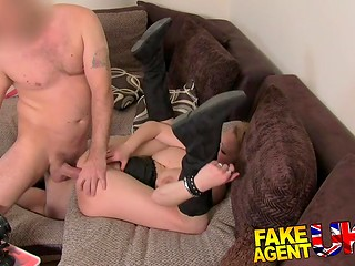 Busty dame had something for porn agent to show dazing him with amazing sex skills