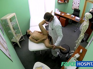 Another one gorgeous patient follows the rules of the crazy doctor and doesn't know about hiden camera