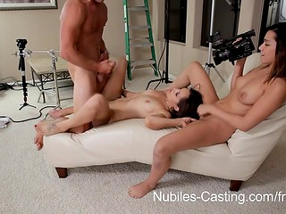 Porn casting turned into the threesome fucking after hot assistant decided to help out modest cute pretender