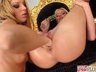 Cunnilingus and stimulations with fingers brought two horny lesbians to the heaven  6