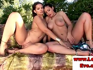 Lesbian playtime with mesmerizing Eva Angel and her stunning girlfriend Aria Giovanni
