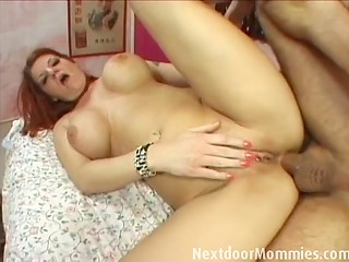 Copper-top aroused MILF with round boobies got her ass roughly nailed