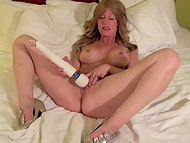 Horny Lana Wilder found time in her busy schedule to test new electrical vibrator