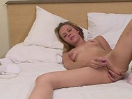 Flawless cutie with small tits masturbated her slit and ardently wriggled on the bed