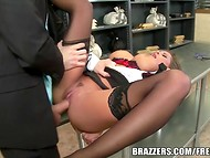 Secretary in black stockings could be surprised only with a rough banging of a guy in mask like this one