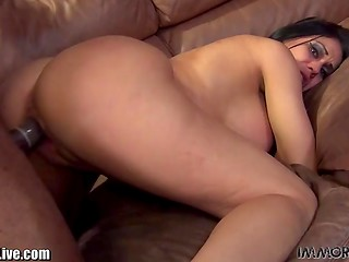 Fascinating black phallus was introduced to brunette Sheila Marie's shaved vagina