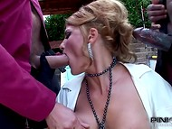 Busty noble woman got bored and so she decided to organize dirty threesome love to the two horny bodyguards