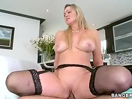 Hot as hell maiden in black nylon stockings impales he wet twat on the lover's erected penis  10