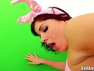 Lesbian playtime with famous pornstar Sasha Grey and her girlfriend dressed in bunny suits  7