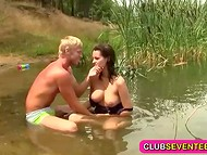 Enthusiastic blonde pal was honored to bang chesty brunette's shaved vagina by the river side