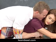 Charmer's body was sliding on the desk from side to side due to the passionate teacher's movements