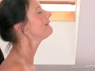 Brunette woman with perverted sexual desires makes man to cum in her mouth and ate it all 7
