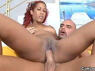 Red-haired Latina Afra working with her shaved vagina to obtain fresh white semen