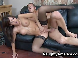 Gorgeous cougar Capri Cavanni in fashionable black stockings gets her vagina boned in different poses