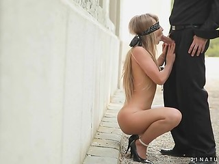 Charming blonde doll agrees to have tender sex with stylish guy outdoor while being blindfolded