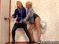 Winsome gloryhole scene featuring couple of blonde lesbians dressed in elegant outfit