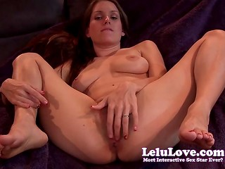 Bewitching Lelu Love tames her trimmed pussy teasing it with two fingers