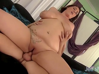 Breathtaking BBW in red lingerie loves, when skilled lover shags her oiled up shaved pussy