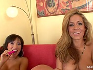 Spectacular Asa Akira invited her lesbian girlfriend to have fun with pink dildo