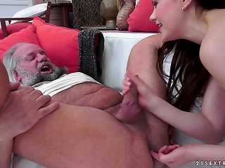 Young Tina Kay is holding her finger in grandpa's asshole to make him cum harder