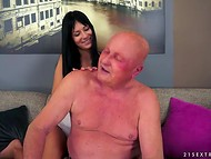Mesmerizing brunette had blown grandpa's mind with her fantastic fucking skills