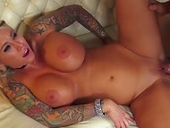 Tattooed blonde Lolly Ink has a lustful desire to get her puss fucked by next man
