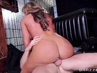 Astounding woman with huge melons was fucked in the torture chamber by a bald man