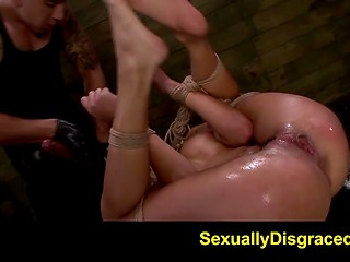 Cruel BDSM scene with spoiled bitch named Marina Angel and her brutal master