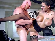 Breathtaking sex action with Peta Jensen and bald fellow interrupted secret meeting