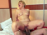 Short-haired mature woman feels herself much younger after getting her flabby vagina fucked