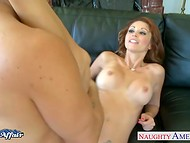 Red-haired chick surrounded guy's dick with vaginal lips holding it to the victorious end 11