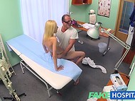 Blonde patient's front hole was carefully inspected by fake doctor with great dong