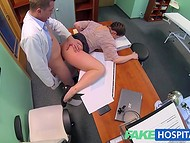 Stocky saleswoman visits doctor to realize some sales and gets pleasure at the same time 6