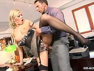 Delicious secretary in nylons is establishing the sexual contact with her generous boss on his table