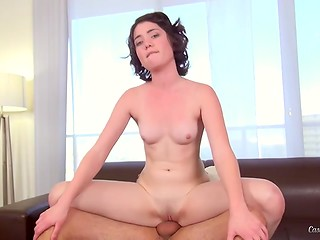 Casting Couch X: curly-haired brunette doing her best to attract agent's attention and start porn career