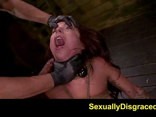 Wicked man sexually disgraced tied captive with the help of sex toys in the basement