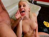 Adorable blonde reacts like a real bitch to the sexual efforts of the strong admirer  11