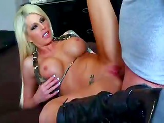 Busty blonde in leather boots fucking with her boyfriend